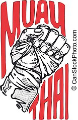 Muay Thai - Hand drawn vector illustration or drawing of s...