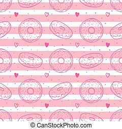 Hand drawn vector illustration - Seamless pattern with tasty donuts on striped background.