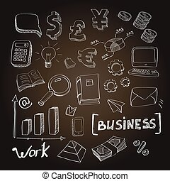 Hand drawn vector illustration set of business planning finance doodles elements. Isolated on a chalckboard