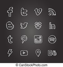Hand drawn vector illustration set of social media sign icon and symbol chalk