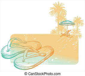 Hand drawn vector illustration - slippers on a tropical beach