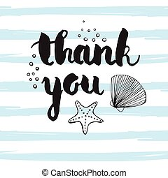 Hand-drawn vector illustration - Thank you.  lettering. Calligraphy