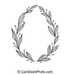 Hand drawn vector illustration. Vintage decorative laurel wreath. Perfect for invitations, greeting cards, quotes, blogs, posters.