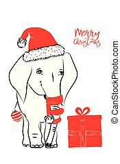 Hand drawn vector illustration with a cute baby elephant celebrating celebrating a Merry Christmas - isolated on white background