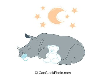 Hand drawn vector illustration with a cute baby rhinoceros sleeping celebrating new birth - isolated on white background
