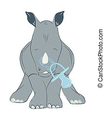 Hand drawn vector illustration with a cute baby rhinoceros with feeding bottle celebrating new birth - isolated on white background