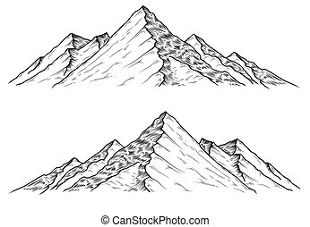 Hand drawn vector illustrations the mountains