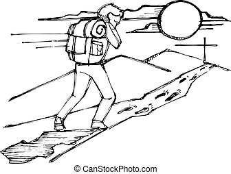 Man with backpack following Jesus steps - Hand drawn vector...