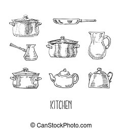 Hand drawn vector kitchen utilities tableware set