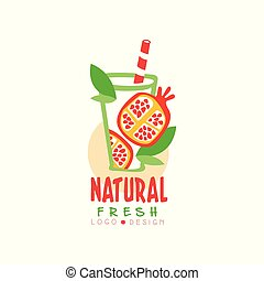 Hand drawn vector label with sweet pomegranate and green leaves in glass. Natural and fresh fruit drink