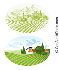 Hand drawn vector landscape with agrarian fields, village ...