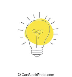 Hand drawn Vector light bulb icon with concept of idea. brainstorm and teamwork. Great idea eureka icon concept. Doodle hand drawn sign. Stock Vector illustration isolated on white background.