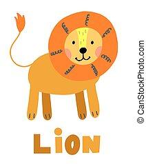Hand drawn vector lion. Cute cartoon baby illustration