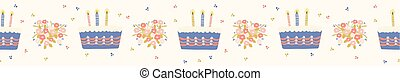 Hand drawn vector lit candles on birthday cake with flower bouquet. Seamless repeat border