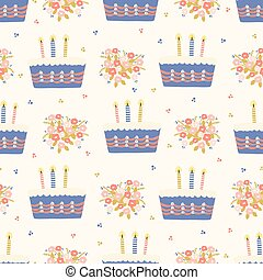 Hand drawn vector lit candles on birthday cake with flower bouquet