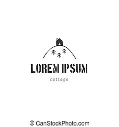 Hand drawn vector logo template with a house on the top of the mountain. Property rental theme.