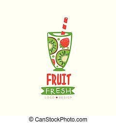 Hand drawn vector logo with glass of fresh fruit drink. Beverage from sweet strawberry and kiwi. Organic smoothie