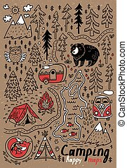 Hand drawn vector maps. Print for camping and outdoor...