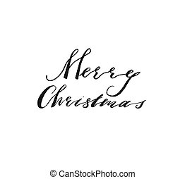 Hand drawn vector Merry Christmas and Happy New Year rough freehand graphic greeting design element with handwritten modern calligraphy phase Merry Christmas isolated on white background