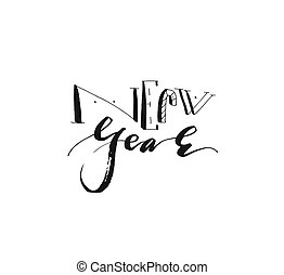 Hand drawn vector Merry Christmas and Happy New Year rough freehand graphic greeting design element with handwritten modern calligraphy phase New Year isolated on white background