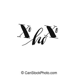 Hand drawn vector Merry Christmas and Happy New Year rough freehand graphic greeting design element with handwritten modern calligraphy phase Xo Xo Xo isolated on white background