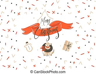 Hand drawn vector Merry Christmas shopping time cartoon...