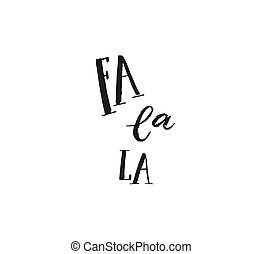Hand drawn vector Merry Christmas rough freehand graphic greeting design element with handwritten modern calligraphy phase Fa la la isolated on white background
