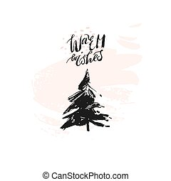 Hand drawn vector Merry Christmas rough freehand graphic greeting design element with handwritten modern calligraphy phase Warm Wishes in pastel colors isolated on white background