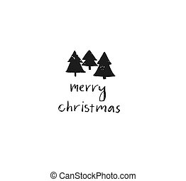 Hand drawn vector Merry Christmas rough freehand graphic greeting design element with handwritten modern calligraphy phase Merry Christmas isolated on white background