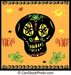 hand drawn vector, mexican skul