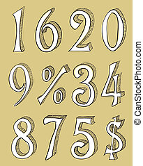 Hand drawn vector numbers