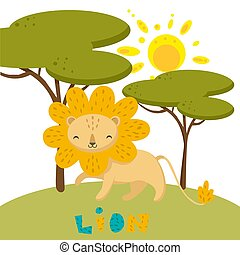 Hand drawn vector of a cute lion in nature.