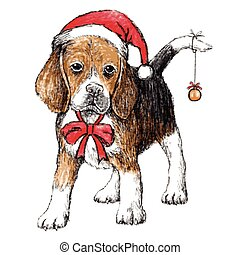 beagle with christmas hat - hand drawn vector of beagle with...
