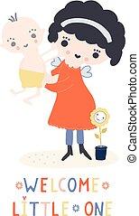 Hand drawn vector of kawaii cartoon girl angel fairy holding new baby