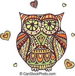 Hand drawn vector owl illustration