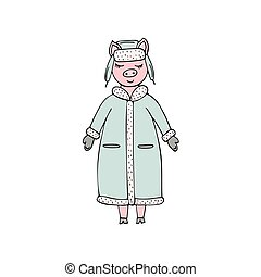 Hand-drawn vector pig in a winter coat and hat.
