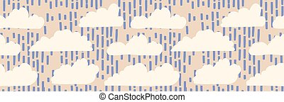 Hand drawn vector rain cloud illustration. Seamless ...