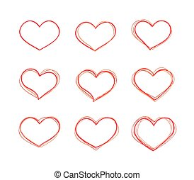 Hand-drawn vector red heart shapes set