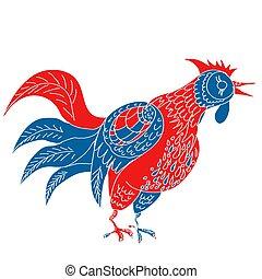 Hand drawn vector rooster. Stylization of Russian folk art.