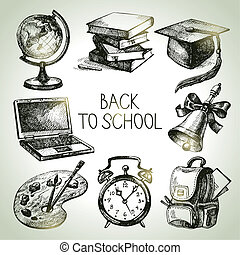 Hand drawn vector school object set. Back to school ...