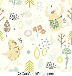 Hand drawn vector seamless background with merry happy in love birdies. scandinavian style background