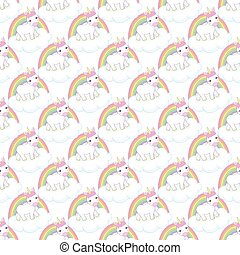 Hand drawn vector seamless pattern with unicorn , clouds and rainbow - color, line art style drawing.