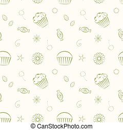Hand drawn vector seamless patterns with cupcakes, candies and c