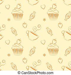 Hand drawn vector seamless patterns with outlines sweets and tea