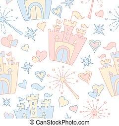 Hand drawn vector seamless princess pattern