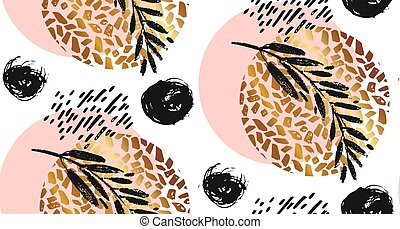Hand drawn vector seamless textured round golden pattern with painted scratched texture