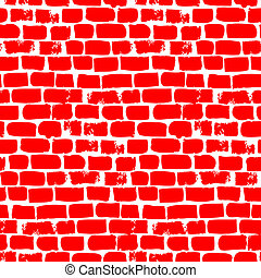 Hand drawn vector seamless with bricks in bright red....
