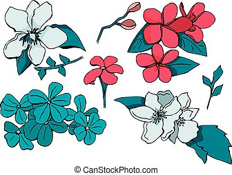 Hand drawn vector set of flowers in doodle