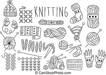 Hand drawn vector set of icons for knitting related theme....