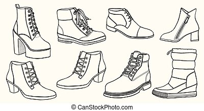 Hand drawn vector set of shoes.